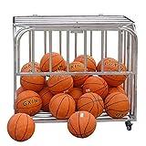 Estante de Pelota Carro de Almacenamiento de Baloncesto de Acero con Tapa, Garaje de Almacenamiento de Bolas Plegable Gran Capacidad para Balones Deportivos/Fútbol/Voleibol (Size : L-118×81×90cm)