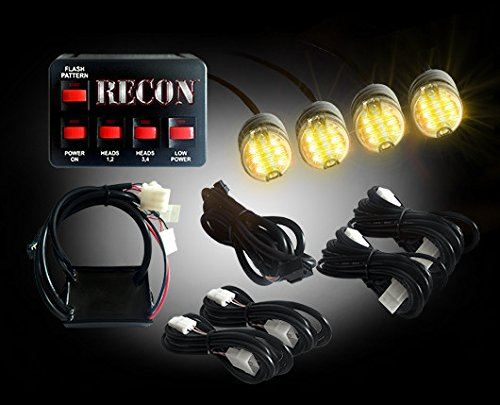 RECON Part # 26419AM 36-Watt 4-Bulb Professional-Grade LED Amber Strobe Light Kit with 19 Different Flash Patterns & In-Vehicle Control Switch - All Plug & Play