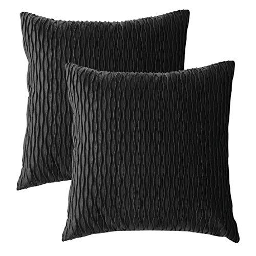 Dake 2er Set Kissenbezüge, Samt Gestreift Dekorative Kissenhülle, Super Weich Kissenbezug für Sofa Couch Wohnzimmer Schlafzimmer Autos Schwarz 45x45cm