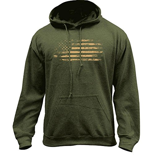 USAMM Distressed American Flag Pullover Hoodie (X-Large, Military Green)