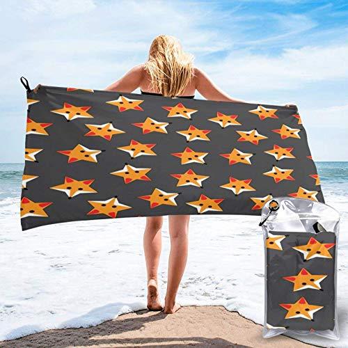 Toallas de Playa Toalla de Secado rápido Foxes en Forma de Estrella Amarilla 27.5 x 55 y 31.5 x 63 Pulgadas Toalla súper Suave para Viaje de natación a la Playa del Hotel