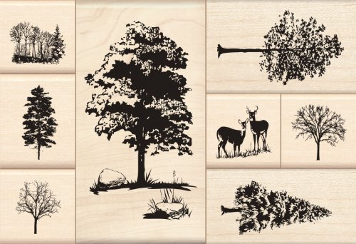 Inkadinkado Trees Mounted Rubber Stamp Set, 8 pc