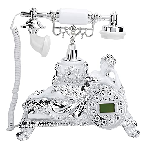Teléfono Antiguo Estilo Europeo Línea Fija Blanca Piedras de imitación incrustadas Teléfono Antiguo Antiguo Teléfono Fijo Retro para el hogar Decoración para el hogar del Hotel Oficina en casa con s
