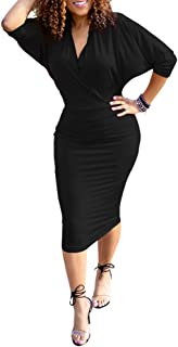 Womens Elegant Collar Deep V Neck Half Sleeve Cross Wrap Bodycon Office Pencil Long Midi Dress