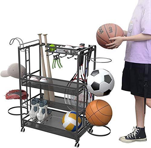 Estante de Pelota Carro de almacenamiento de pelotas deportivas con ruedas de garaje de 4 niveles, estante de almacenamiento de baloncesto, estante para equipos deportivos de gimnasio, almacenamiento