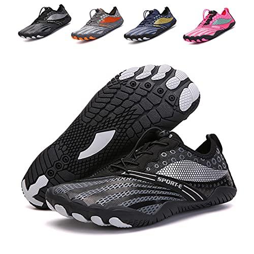 HYYP Zapatos de agua cómodos para hombre y mujer Zapatos de playa descalzos de secado rápido Zapatos de correr descalzos Aqua Zapatos de natación Yoga Buceo Surfing Jogging Fitness negro-46 EU