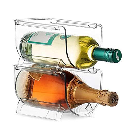 N\A Botellero 2pc Holder Holder Rack para Cerveza Soda Cocina Frigorífico Organizador de Almacenamiento Plástico Claro Apilable Botella de Vino Soporte Soporte (Color : 2 pc)