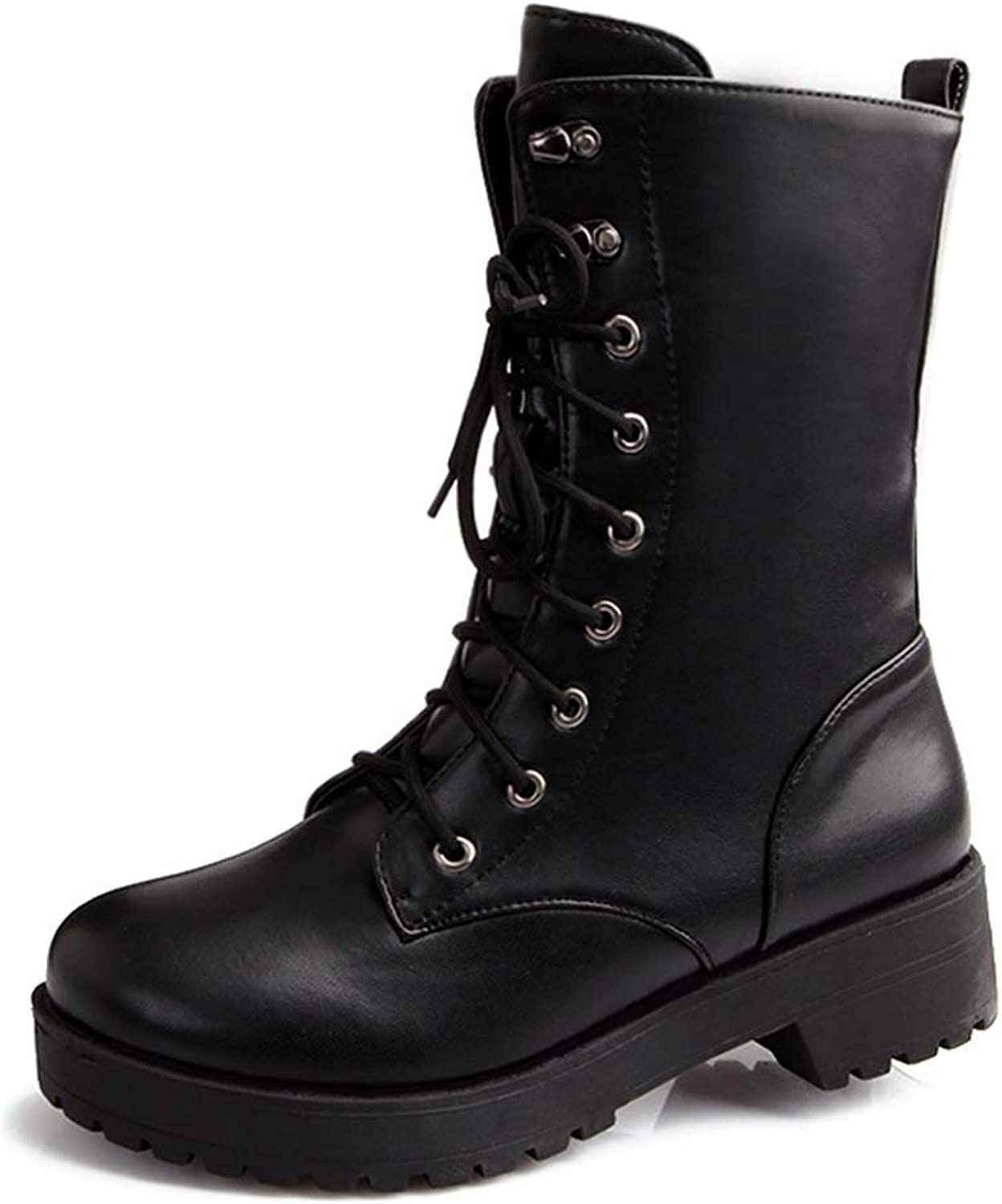 T-JULY Autumn and Winter Lace Up Mid Calf Boots Women Chunky Heel Round Toe Motorcycle Low Heel Boots Large Size 34-43