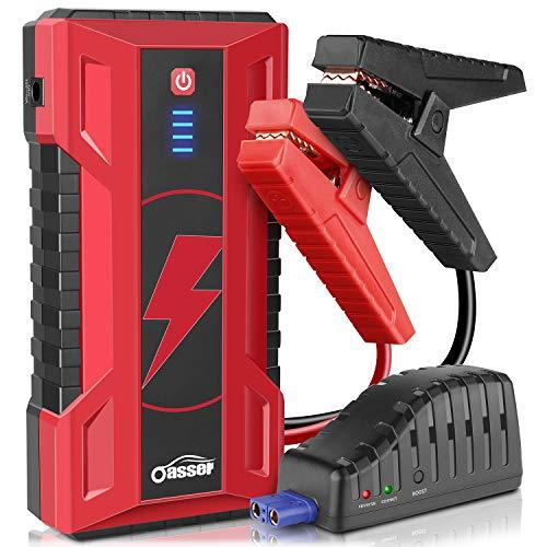 oasser Starthilfe Jump Starter 15000mAh 1000A Spitzstrom Powerbank Anlasser Tragbare Auto Starthilfe mit Schnellladung bis zu 7L Gasmotor oder 5L Dieselmotor mit USB-Ladekabel