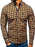 BOLF Hombre Camisa a Cuadros De Manga Larga Cuello Americano Camisa de Algodóm Slim fit 5816-A Marrón M [2B2]