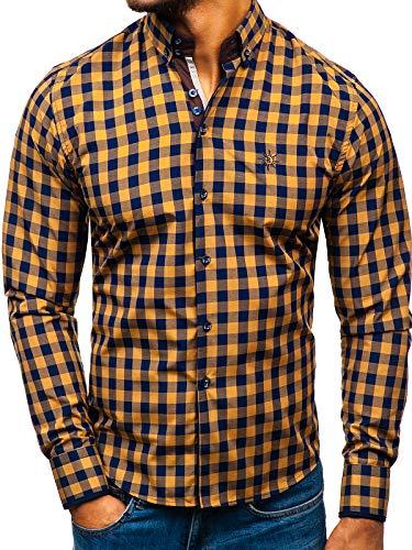 BOLF Hombre Camisa a Cuadros De Manga Larga Cuello Americano Camisa de