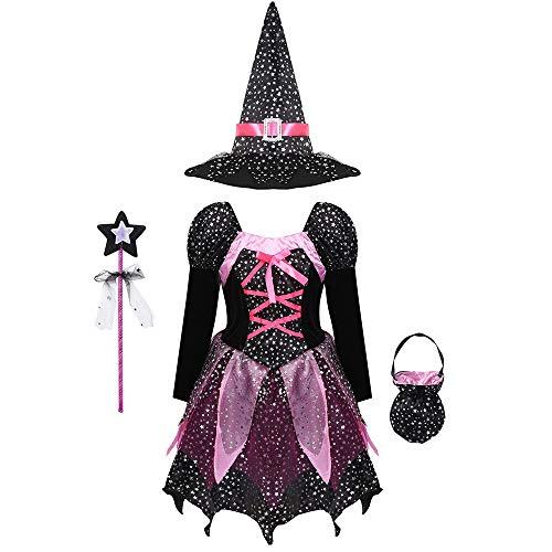 MikeyBee Conjunto de Disfraz de Bruja aterradora de Halloween para niñas y niños, Vestido Estampado de Estrellas Brillantes de Manga Larga con Sombrero Puntiagudo, Varita, Bolsa de Dulces