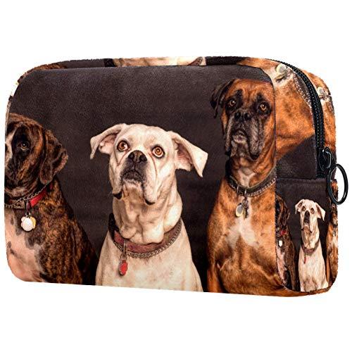 Bolsa de cosméticos para mujeres, tres perros sentados, bolsas de maquillaje accesorios organizador regalos