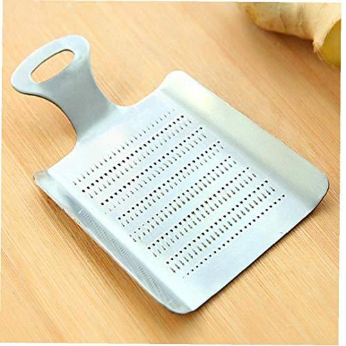 Amoyer 1pc práctico de Cocina Jengibre Wasabi Acero Inoxidable de Plata 11.1X7.1cm fácil Limpiar Artículo Herramientas Seguridad ajo rallador de Cocina