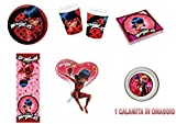 Ladybug Mariquita y chat noir coordinato Niños Cumpleaños adornos fiestas–Kit N ° 31cdc- (16platos, 16vasos, 20servilletas, 1Balón Supershape)