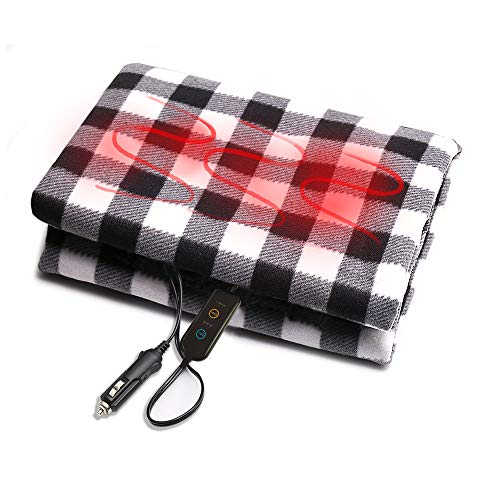 Electric Car Blanket, YLong-ST 12V Heated Blanket Fleece Travel Throw for Car Trucks RV with High/Medium/Low Switch and 30/45/60 Minute Timer Fitting Winter Cold Weather Trip Camping 57' X 39.3'