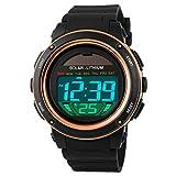 Fanmis Multi Function Alarm Stopwatch Digital LED Quartz Watch Solar Power Black Sports Watches (Rose Gold)