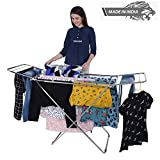 LiMETRO STEEL Stainless Steel Foldable Cloth Dryer Stand Double Rack Cloth Stands