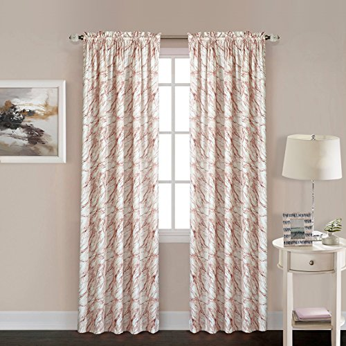 Latitude Rose Marble Window Curtain Panel, 63-Inch, Multi