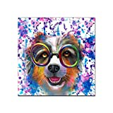 N / A Wall Painting Canvas Art Poster Print Watercolor Dog Picture Living Room Decoration Home Frameless 40X40cm