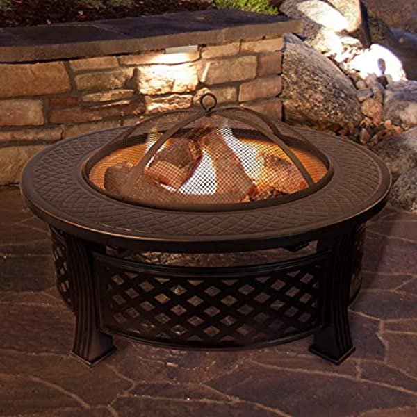 Fire Pit Set Wood Burning Pit Includes Spark Screen And Log Poker Great For Outdoor And Patio 32 Round Metal Firepit By Pure Garden