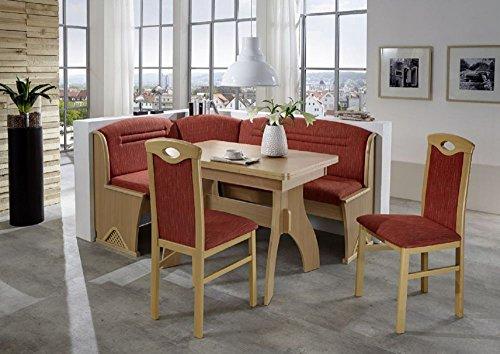 Beauty.Scouts Eckbankgruppe Austria, Buche Natur Dekor Eckbank Tisch 2 Stühle rot meliert Set 4-teilig Truheneckbank Küche Esszimmer Landhaus