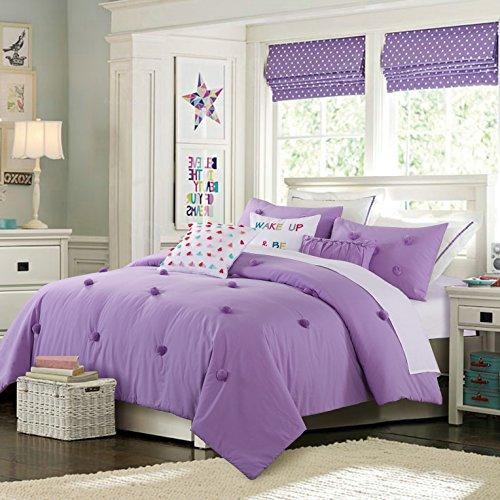 Cassiel Home Back to School 3pcs Pompoms Comforter Set Soft and Cozy Bedding Set for Teen Girls College Dorm (Violet Purple, Twin XL)