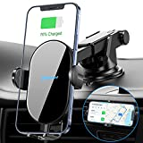 Nalwort Wireless Car Charger Auto Clamping with Air Vent and Dashboard Mount 15W Qi Fast Charge Wireless Car Charger Mount for iPhone 12/12 Pro Max/11, Samsung S21/S20/S10/S9, Note 20 and More