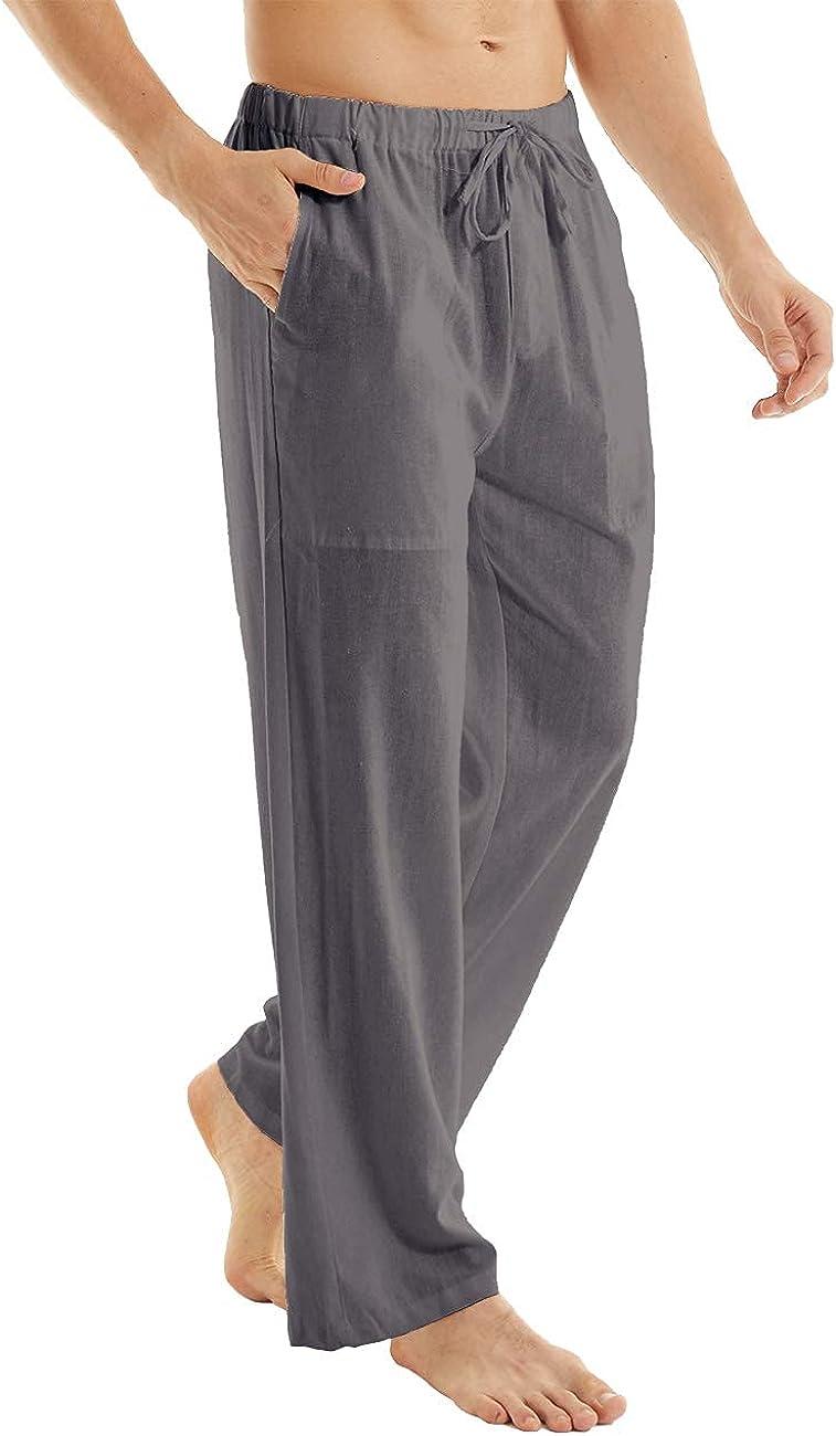 YuKaiChen Men's Casual Beach Pants Drawstring Cotton Linen Loose Open Bottom Yoga Trousers Pockets