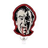 Reeleer Halloween Count Dracula Badge Reels Retractable, with Alligator Clip and Key Ring, 24 inches Thick Pull Cord Horror Fans Gift