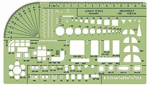 Linex 100414314 Architekt Zeichenschablone Möblierungsschablone mit Tuschenoppen, grün/transparent