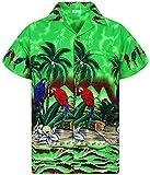 Funky Hawaiian Shirt Men Shortsleeve Frontpocket Hawaiian-Print Parrot Flowers, Green, XXX-Large