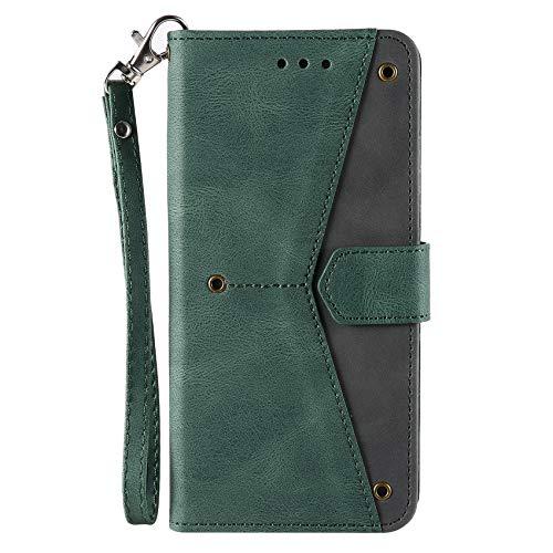 TOPOFU Funda para Samsung Galaxy A71 4G, [Vintage de Billetera Cuero de la PU] Magnético Carcasa con Tapa Abatible y Ranuras para Dinero y Tarjeta de Crédito-Verde
