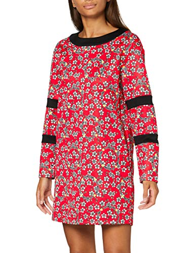 Love Moschino Kleid Vestido Casual, Flowers On Red Background, 46 para Mujer
