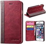 LENSUN Funda iPhone 6 / 6S, Funda de Cuero Genuino Carcasa con Tapa y Cartera Tarjetas Soporte Plegable Protección Libro para Apple iPhone 6 / 6S 4,7' - Rojo Vino (6G-FG-WR)