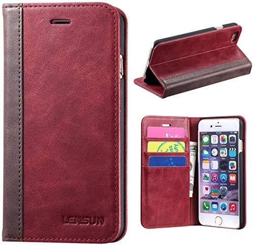 LENSUN iPhone 6 Handyhülle, Echte Rindsleder Brieftasche Stand Hülle für Apple iPhone 6 / 6S 4.7