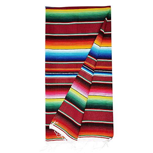G-wukeer Couverture Mexicaine, Couverture De Table De Nappe Rayée De Nappes De Coton Mexicain De Glands pour La Style Ethnique Couverture de Plage De Fête, 150x200cm