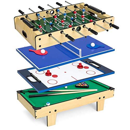 ZXQZ Juego de Competición Arcade 4 En 1, Juguetes Educativos para Niños de Interior, con Billar, Futbolín Y Tenis de Mesa Mini mesas de Billar