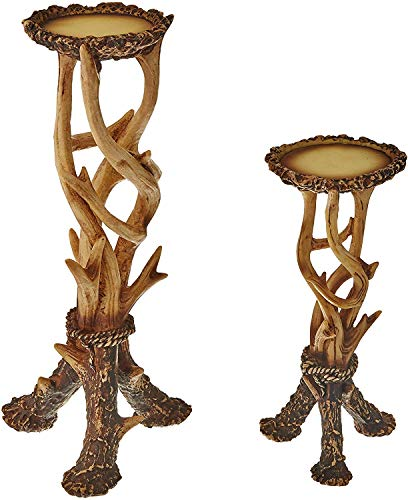 HiEnd Accents Rustic Faux Antler Pillar Candle Holders, Tan & Brown, 2 PC