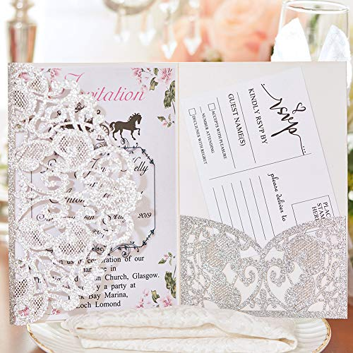 50pcs Wedding Invitation Cards with Envelopes Laser Cut Floral Invitation Card Printable Tri-Fold Pocket Invitations for Bridal Shower Engagement Birthday Party Christmas Graduation, Silver