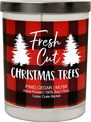Fresh Cut Christmas Trees, Pine, Cedar, Musk, Buffalo Plaid Christmas Scented Soy Candle, 10 Oz. Candle, Made in The USA, Decorative Holiday Candles, Best Smelling Christmas Candles for Home