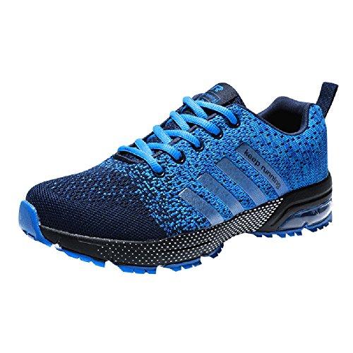 Wealsex Zapatos para Correr En Montaña Asfalto Aire Libre Deportes Zapatillas De Running para Hombre Cojín de Aire Camo Estilo Zapatos Casuales (44 EU, Azul Claro)