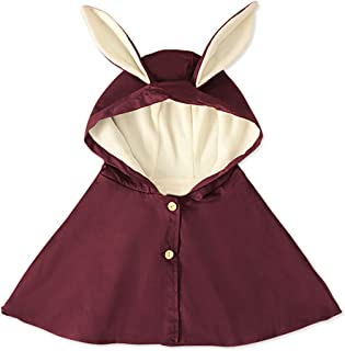 YOUNGER STAR Infant Baby Girls Cartoon Rabbit Ears Hooded Cape Top Toddler Kids Button Cloak Solid Warm Coats Outwear Jackets