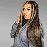 QUINLUX HAIR Highlight 13x6 Deep Part Lace Front Human Hair Wig 1B 27 Ombre Honey Blonde Brazilian Straight Human Hair Wigs Pre Plucked With Baby Hair for Women 150 Density 20 Inch