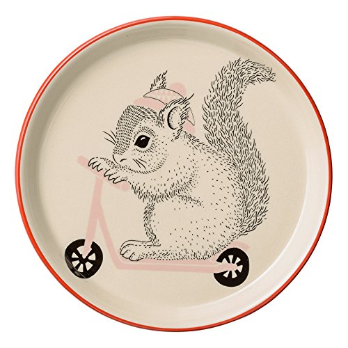 Bloomingville Stoneware Mollie Squirrel Image & Red Rim Plate, Multicolor