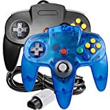 [New] 2 Pack Classic 64 Controller, iNNEXT Game pad Joystick for 64 - Plug & Play (Non PC USB Version) (Clear Blue/Black)