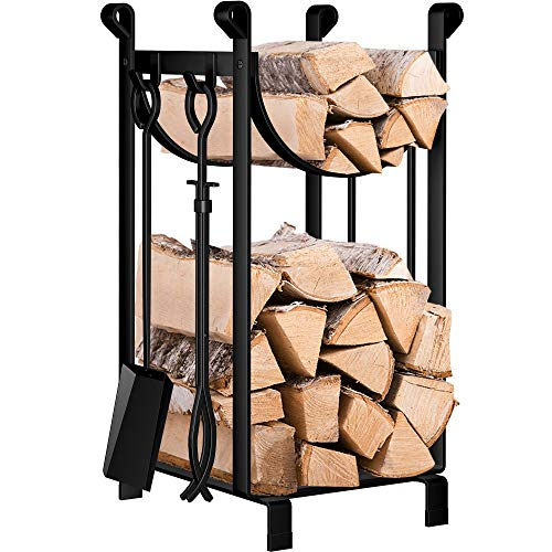 Amagabeli Fireplace Log Rack with 4 Tools 30.7?x11.5?x14.1? Indoor Fireside Companion Set Outdoor Log Holder for Wood Burner Wrought Iron Log Store Fire Poker Tool Set Wood Stove Fireplace Accessories