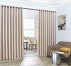 LinenZone Evelyn - Wall-to-Wall Extra Wide Embossed Blackout Grommet Curtain Panels with 2 Rope Tiebacks - Ideal for Window Decor or Room Divider(2 Panels 108