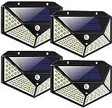 LED Solar Lights Outdoor,100LED Solar Motion Sensor Security Lights,Waterproof Solar Outdoor Wall Light