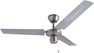 Bestron Ventilateur de plafond grande taille, Ø 120 cm, 60 W, Acier inoxydable